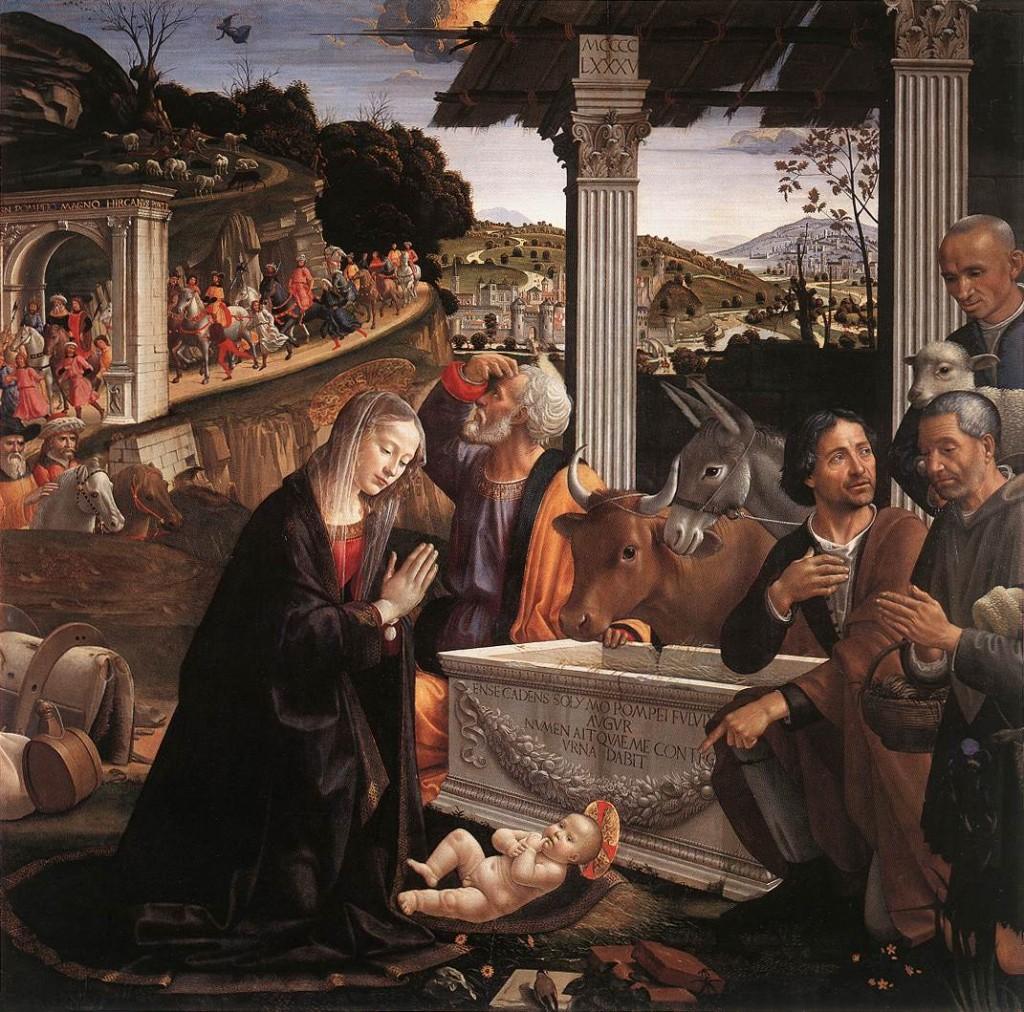 Ghirlandaio, Aanbidding van de herders, 1485 Panel, 167 x 167 cm Santa Trinità, Florence