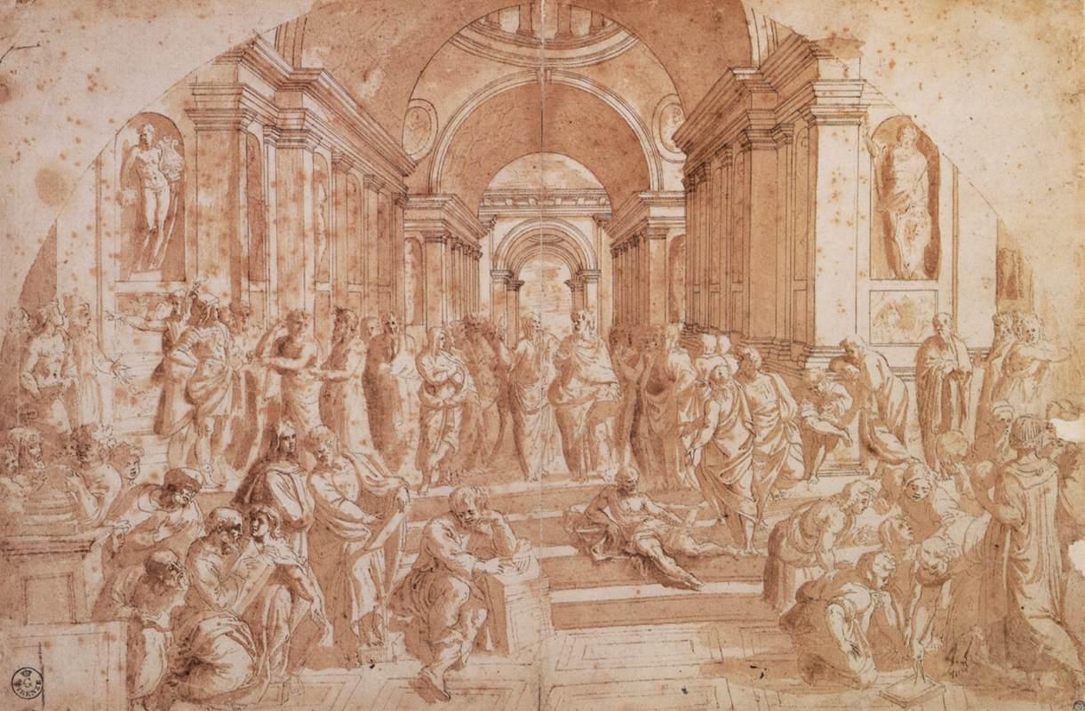 Rafael, De School van Athene, Pen en inkt en gewassen inkt, Galleria degli Uffizi, Florence