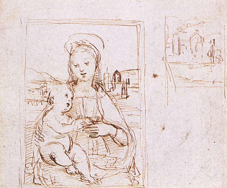 Rafael, Madonna en Kind, c. 1503, Pen en inkt, Ashmolean Museum, Oxford.