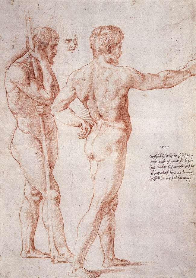 Rafael, Studie voor twee naakten, c. 1515, Rood krijt over metalen stylus, Graphische Sammlung Albertina, Vienna.