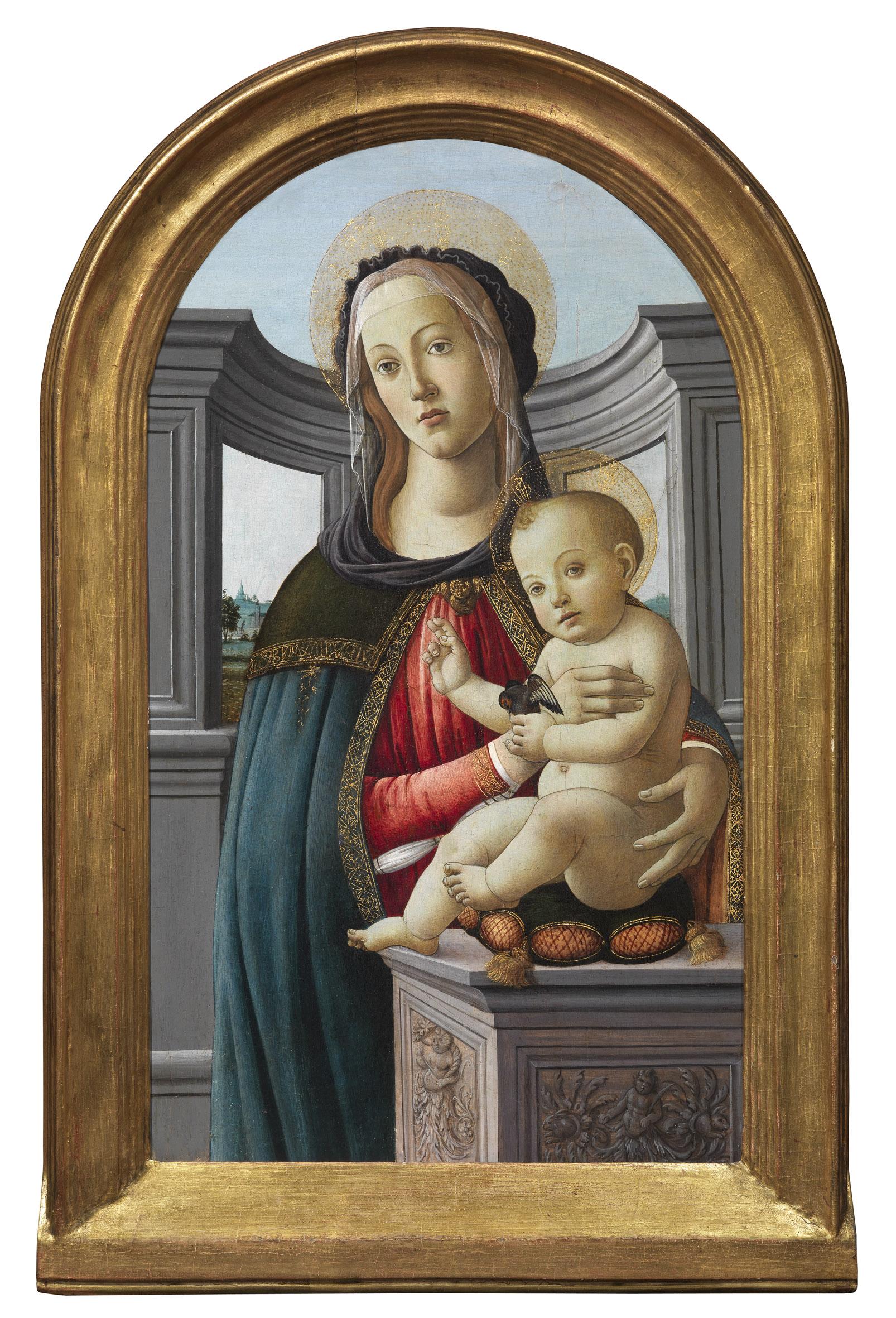 Madonna en Kind met een distelvink, Studio van Alessandro Filipepi, genaamd Sandro Botticelli, Olieverf, tempera en goud op paneel -Moretti TEFAF 2015 highlights