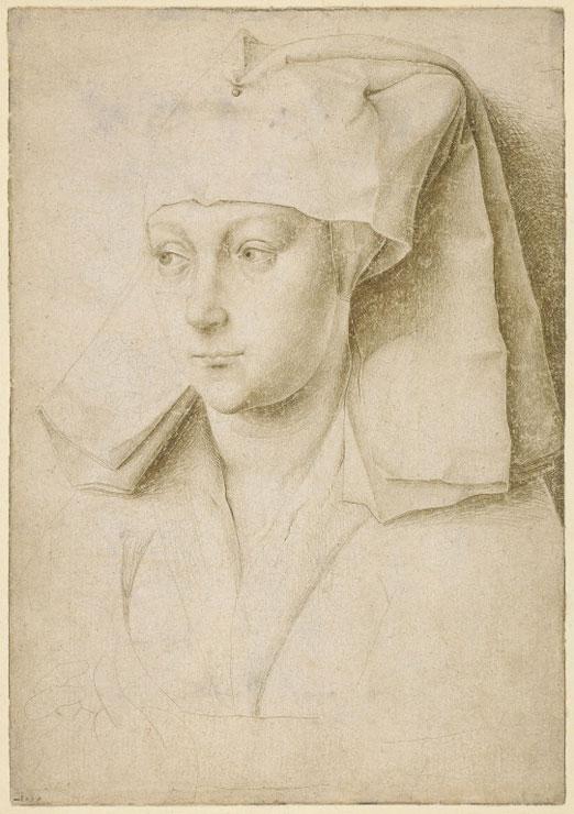Rogier van der Weyden, Portret van een onbekende jonge vrouw, c. 1435/1440, zilverpunt op geprepareerd papier, British Museum, London