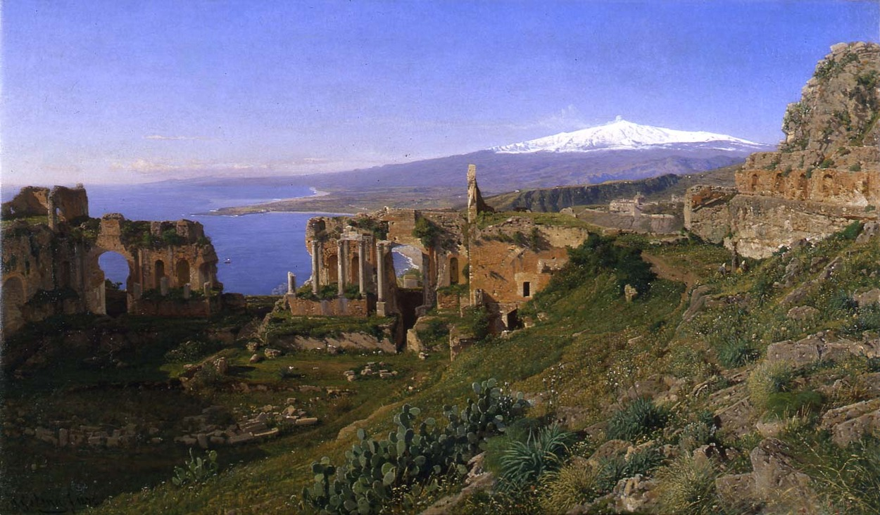 Otto Geleng, 1843 - 1939, Het Amfitheater van Taormina, Sicilë, 1872