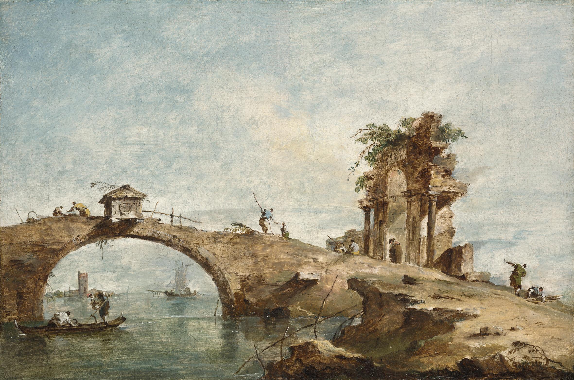 Francesco Guardi, Lagune capriccio met een brug, olieverf op canvas.
