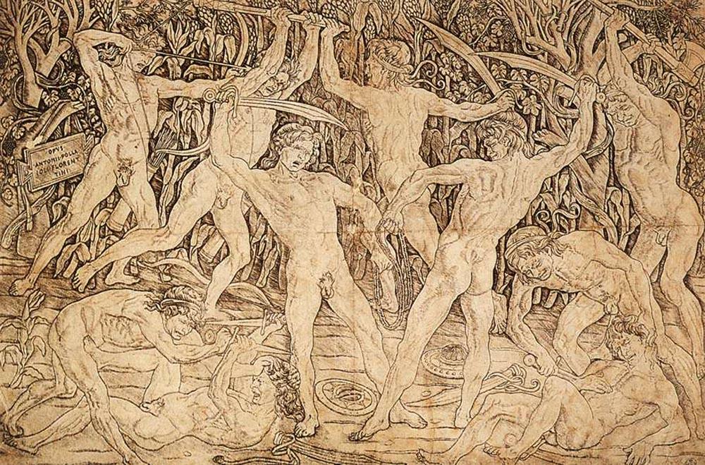 Antonio del Pollaiuolo, Strijd van de naakte mensen, Gabinetto Disegni e Stampe degli Uffizi Firenze
