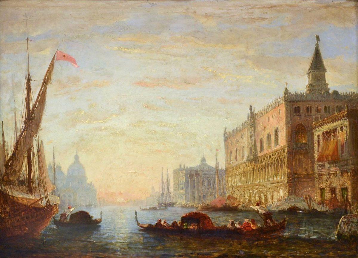 Félix Francois George Philibert Ziem , Zonsondergang op het Canal Grande met uitzicht op het Dogenpaleis en de Santa Maria della Salute ,olieverf op paneel, voor 1865