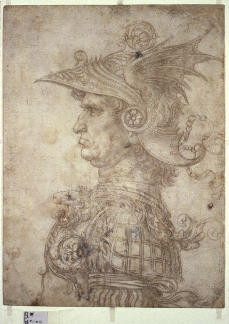 Leonardo da Vinci, Buste van een krijger, zilverstift, British Museum London