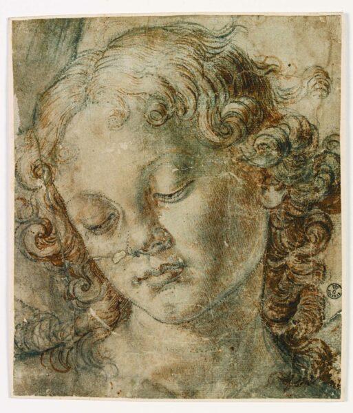 Andrea Verrocchio (Firenze 1437 – Venezia 1488), Hoofd van een Engel, zwart potlood, pen en bistro, wit gestippeld papier voor ponsen, Gabinetto Disegni e Stampe degli Uffizi Firenze