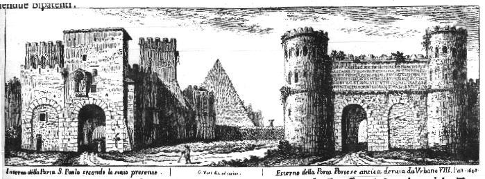 De piramide van Rome en Porta San Paolo op een ets van Vasi
