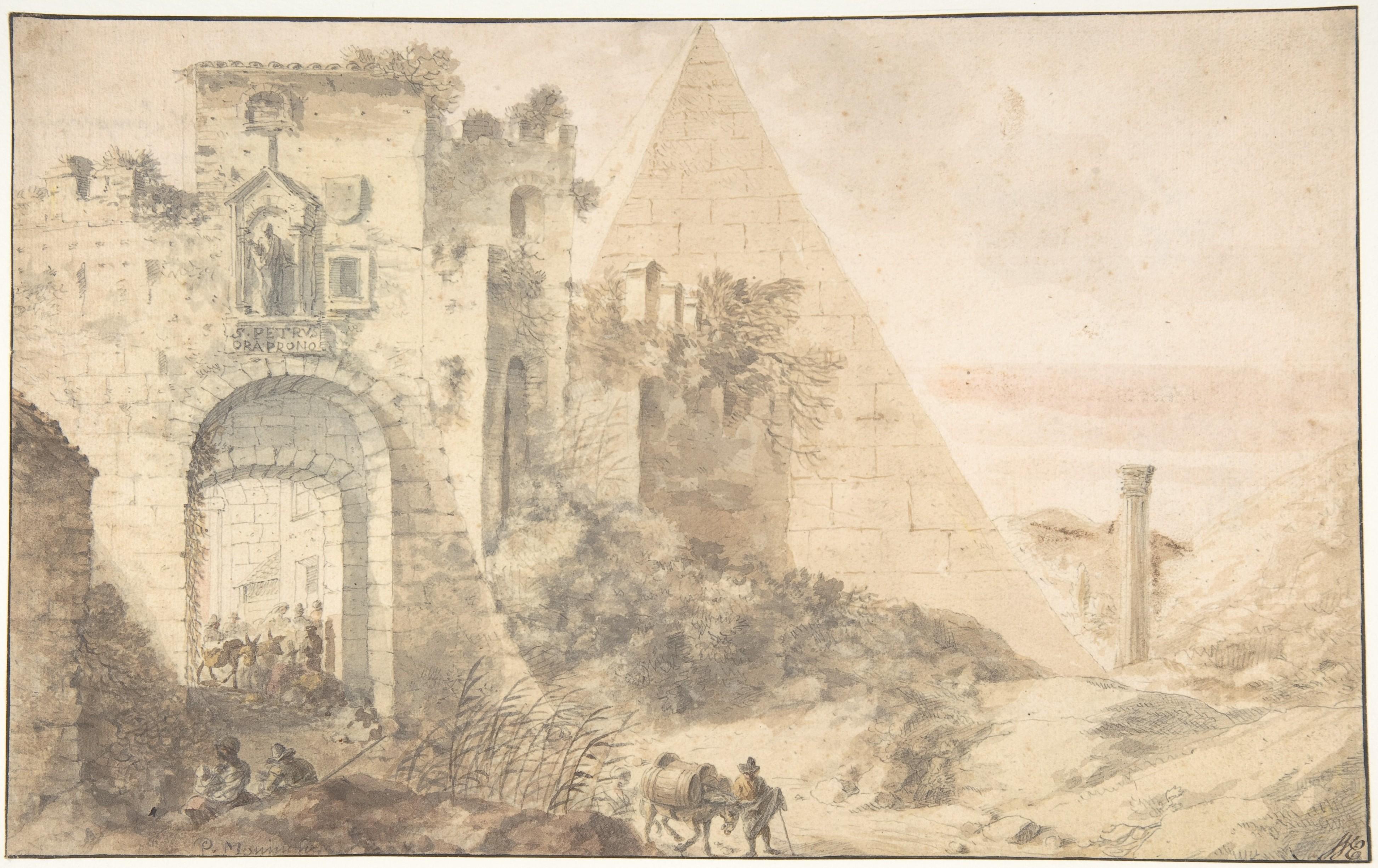 Pieter Moninckx (1606 - Den Haag - 1686), Piramide van Cestius en de Porta San Paolo. Afbeelding © www.metmuseum.org