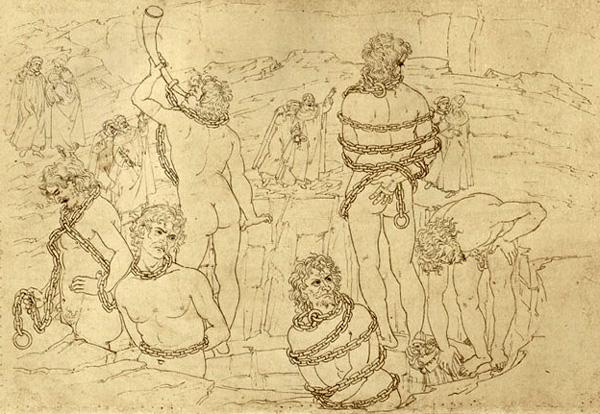 Botticelli, Canto XXXI, Mappa dell' Inferno