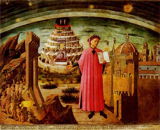 Afb: Portret van Dante, 1465, Domenico di Michelino, Duomo Firenze