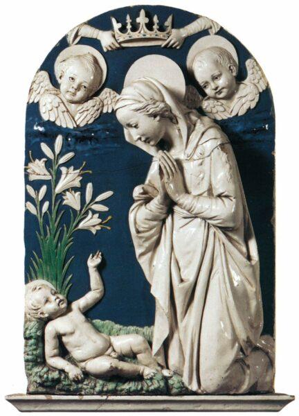 Aanbidding van het Christuskind, Andrea della Robbia, c. 1470, Museo Nazionale del Bargello, Florence