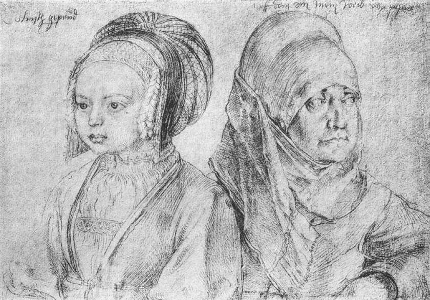 Een jong meisje en Dürers vrouw, 1520 Zilverstift, Graphische Sammlung Albertina, Vienna