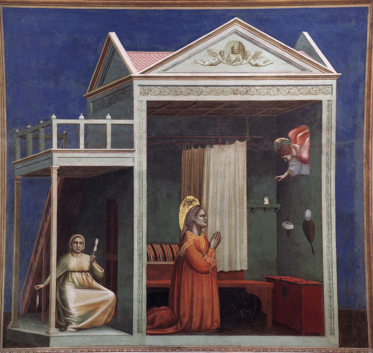 Giotto di Bondone, Annunciatie aan de heilige Anna, Fresco, 200 x 185 cm, Cappella Scrovegni (Arenakapel), Padua