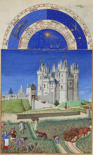 Les Très Riches Heures du Duc de Berry - September. Gebroeders van Limburg