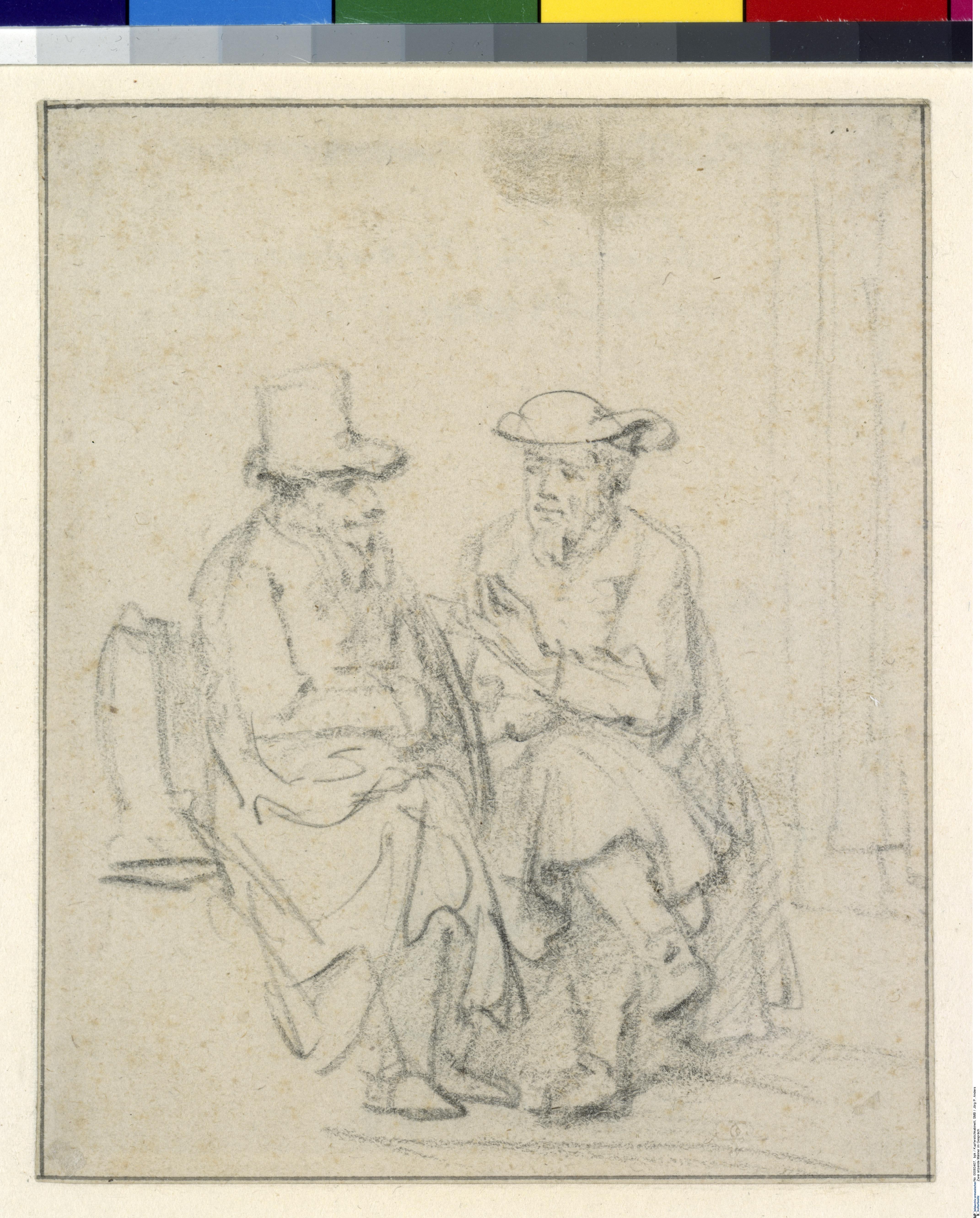 Rembrandt, Twee zittende mannen in gesprek, Staatliche Museen