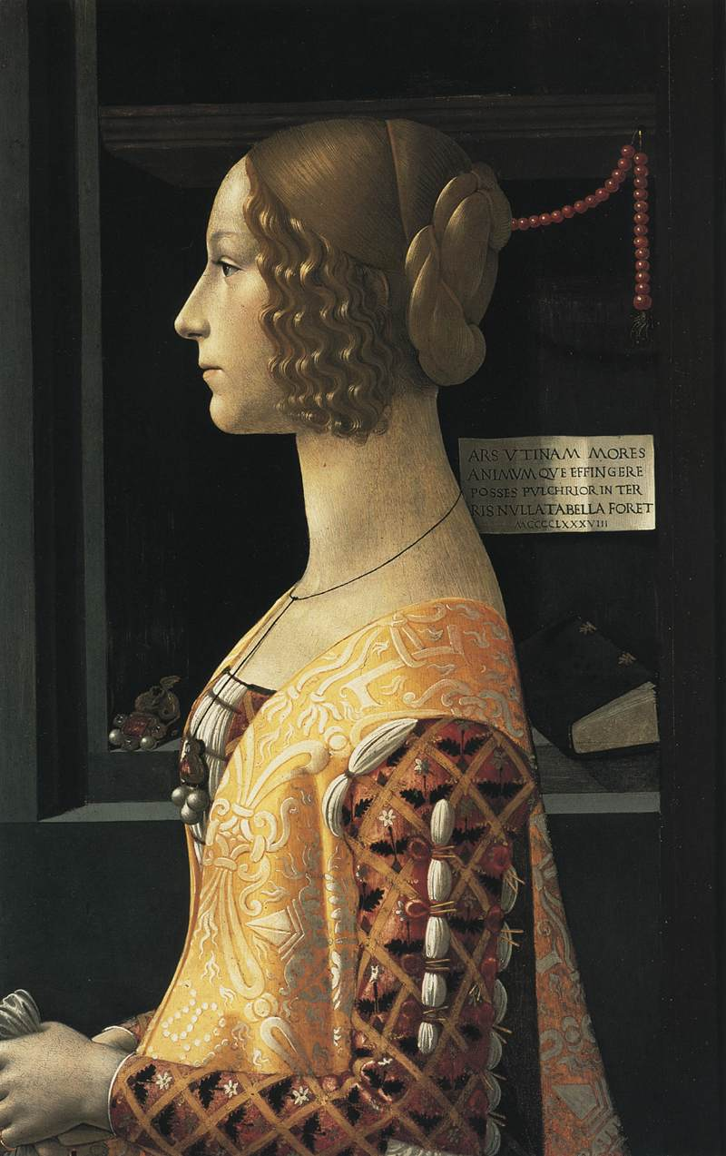Domenico Ghirlandaio (Firenze 1449-1494), Giovanna Albizi Tornabuoni, tempera op paneel, 1489. Museo Thyssen-Bornemisza, Madrid.