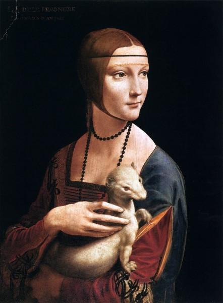 Leonardo da Vinci, Dame met een hermelijn, olie op paneel, ca. 1488-1490, Czartoryski Muzeum, Krakau