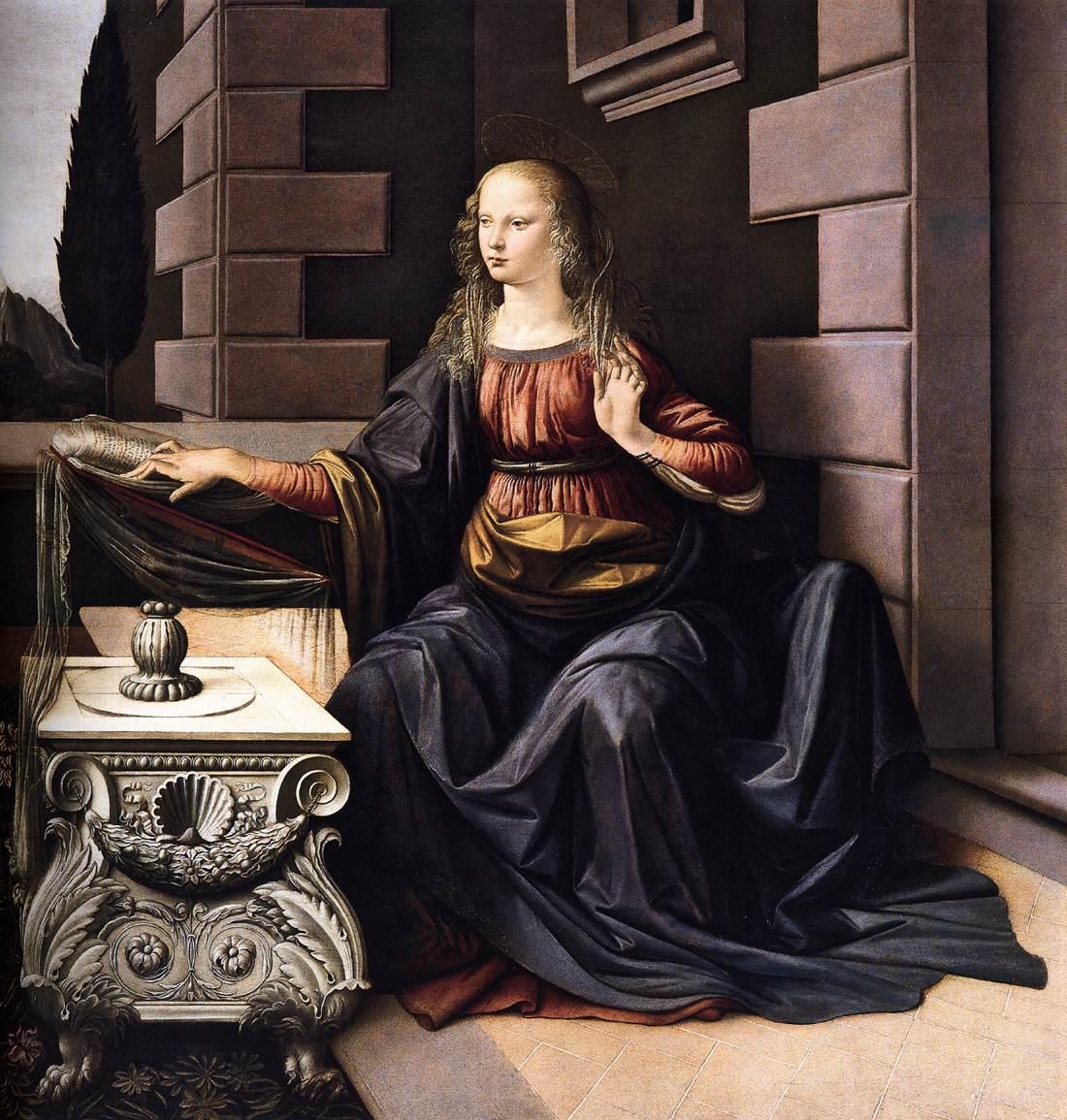 Leonardo da Vinci, De Annunciatie, Galleria degli Uffizi Firenze detail Maria