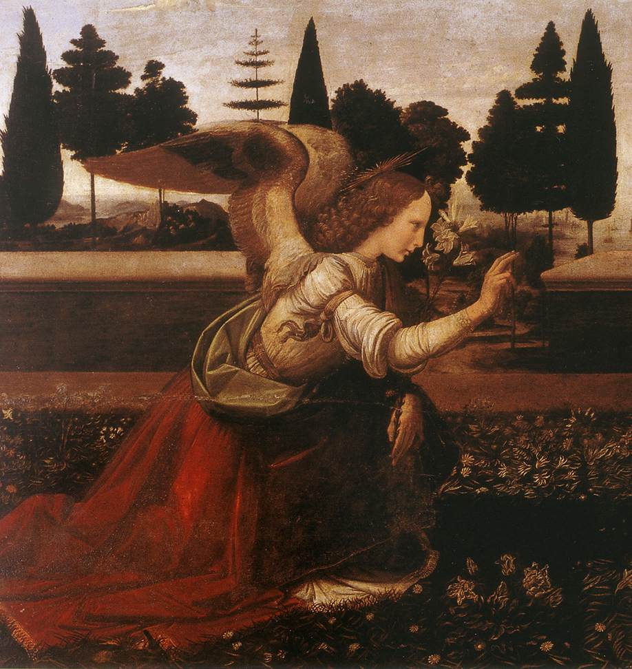 Leonardo da Vinci, De Annunciatie, Galleria degli Uffizi Firenze detail