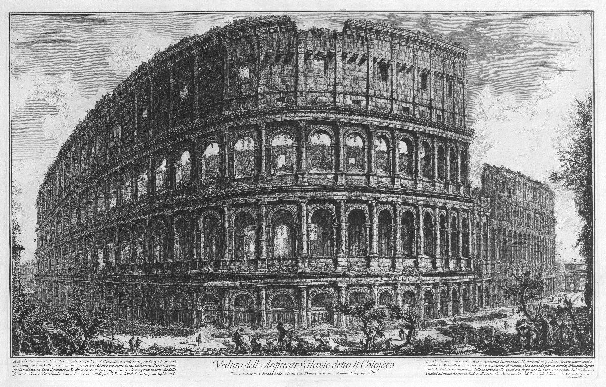 Groeten uit Rome! Stadsgezichten van Piranesi. Colosseum, Rome. Teylers Museum Haarlem