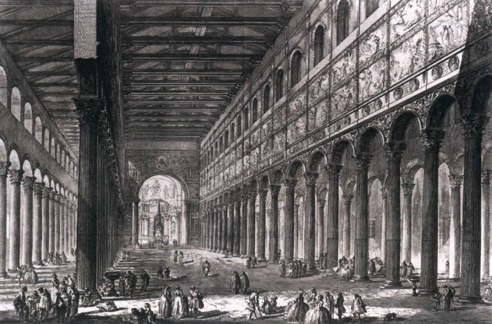 Groeten uit Rome! Stadsgezichten van Piranesi. San Paolo fuori le Mura, Rome. Teylers Museum Haarlem
