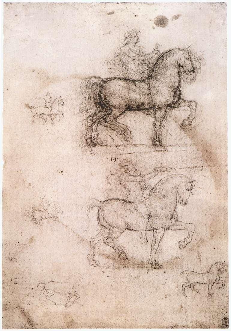 Leonardo da Vinci, Schets voor het ruitermonument, ca 1517 Royal Library, Windsor