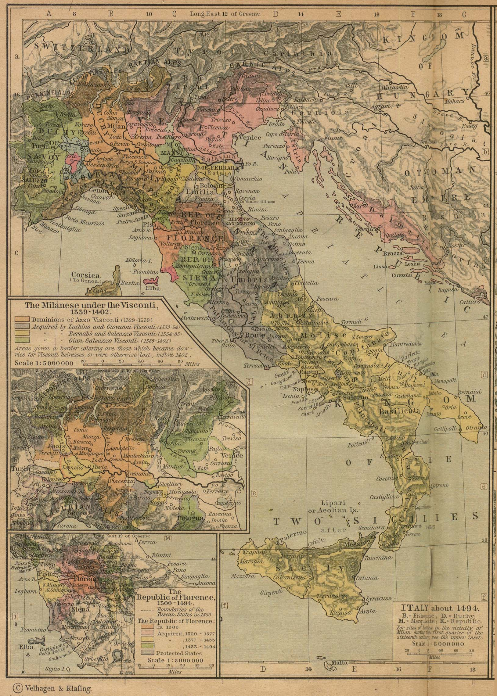 : Italy c.1494, from Shepherd's Historical Atlas 1923, bron www.lib.utexas.edu/maps/historical/shepherd/italy_1494_shepherd.jpg