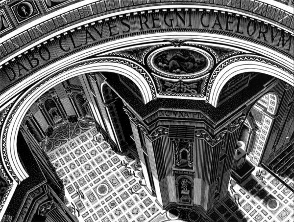 Escher, De binnenzijde van de Sint-Pieter in Rome