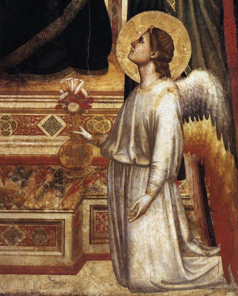 Giotto di Bondone (1267 - 1337), Ognissanti Madonna - detail (Madonna in Maestà), c. 1310, Galleria degli Uffizi, Florence