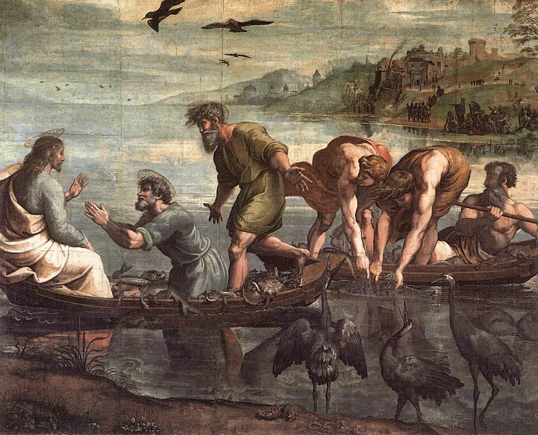 Rafaël, De wonderbaarlijke visvangst, voorstudie, c. 1515, tempera gemonteerd op doek, 360 x 400 cm, Victoria and Albert Museum, Londen