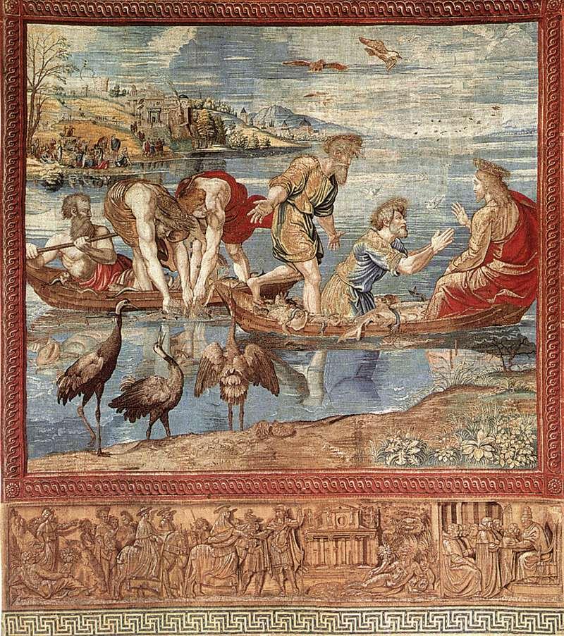 Rafaël, De wonderbaarlijke visvangst, c. 1519, wandtapijt in zijde en wol met zilverdraad, 490 x 441 cm, Musei Vaticani