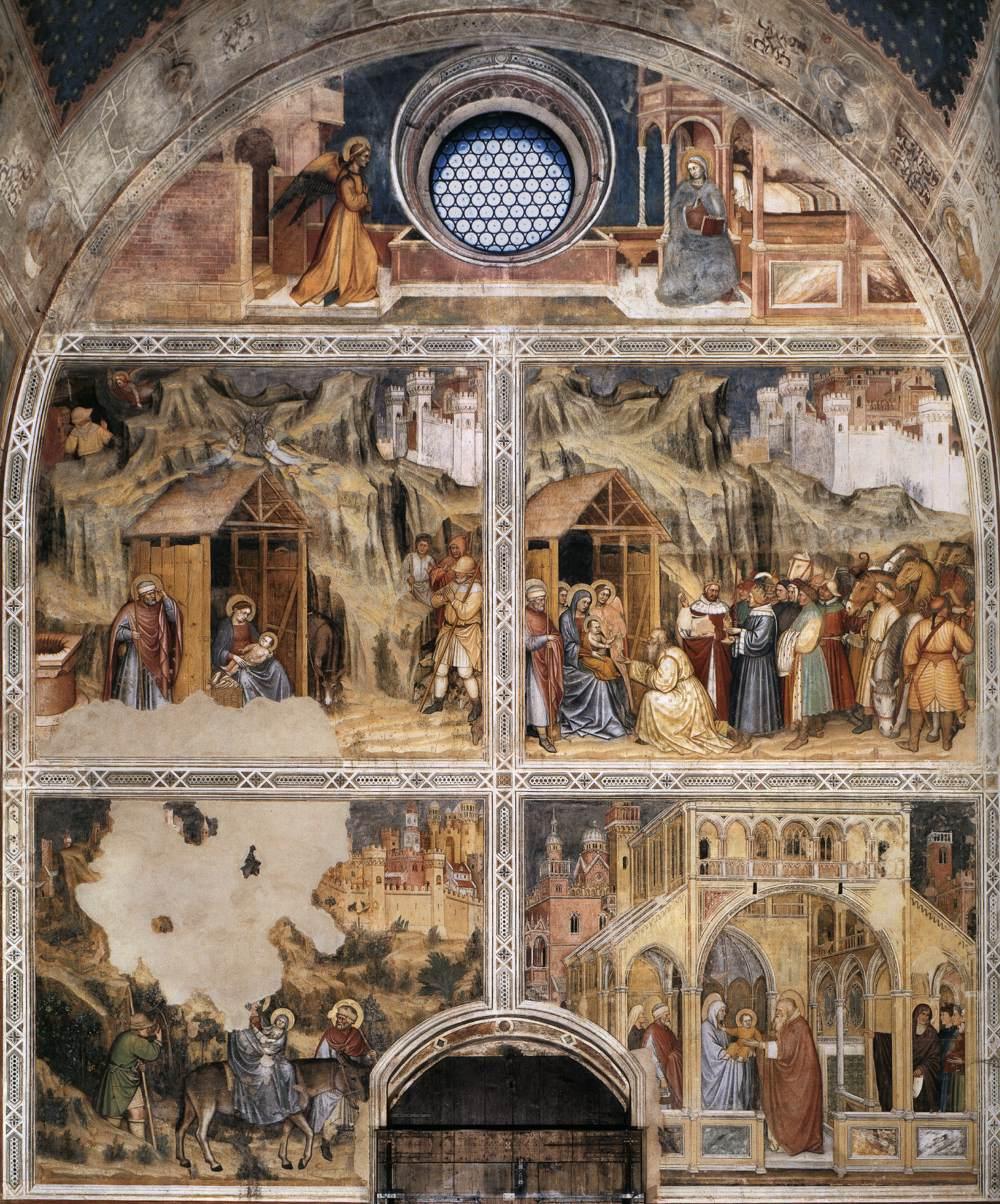 Altichiero da Zevio , Frescoscènes bij de entreemuur, Oratorio di San Giorgio, Padua