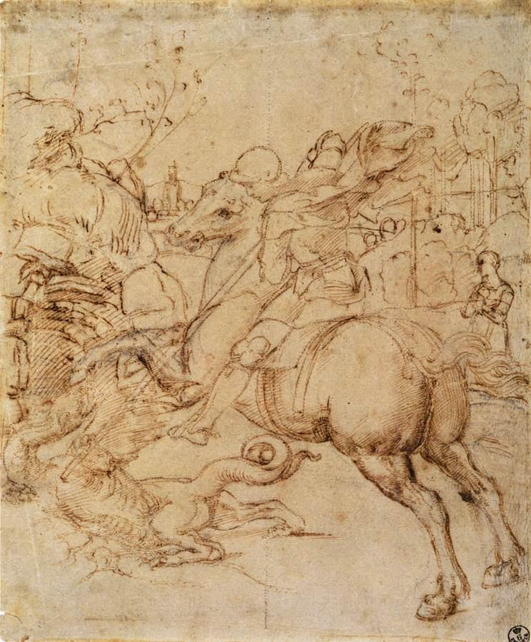 Karton voor St Joris en de Draak, c. 1506, Pen en inkt over zwart krijt, Galleria degli Uffizi, Florence