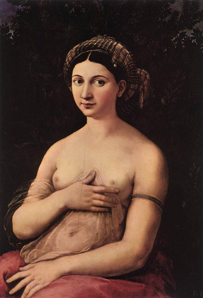 Raffaello Sanzio, La Fornarina, 1518-1520, Galleria Nazionale d'Arte Antica in Palazzo Barberini, Rome