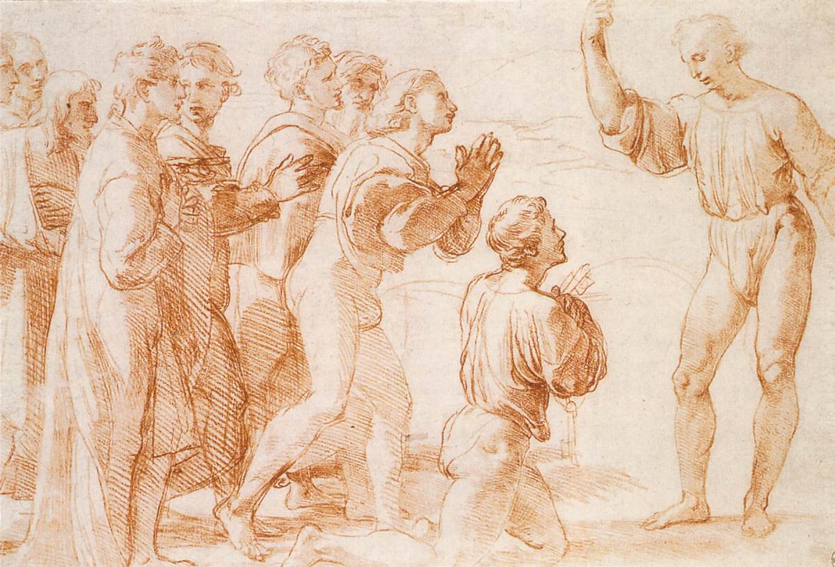 Rafael, Compositorische Studie voor de Overhandiging van de sleutels, c. 1514, rood krijt over stylus, Royal Collection, Windsor