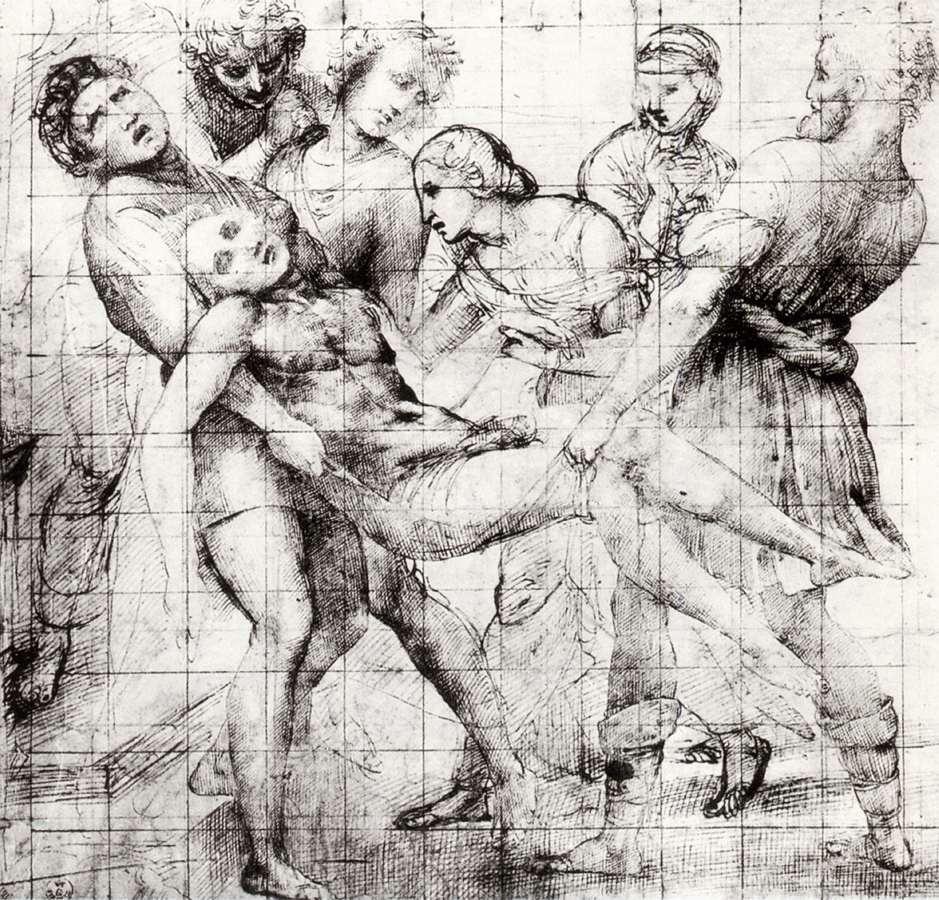 Rafael, Modello voor de Graflegging, c. 1507, Pen en inkt over stylus en zwart krijt, Galleria degli Uffizi, Florence
