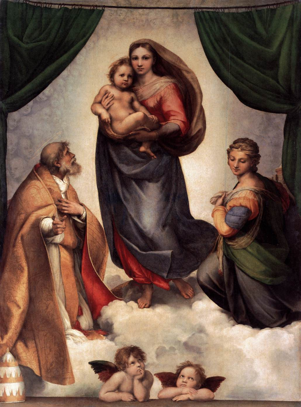 Rafael, De Sixtijnse Madonna, 1513-14, Gemäldegalerie, Dresden