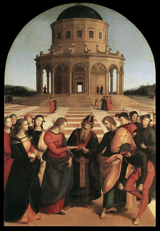 Rafael, Sposalizio (De verloving van de Maagd Maria), 1504, Pinacoteca di Brera, Milaan