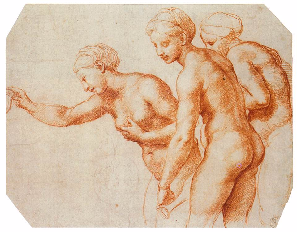 Rafael, Studie voor de Drie Gratiën, c. 1518, Rood krijt over stylus, Royal Collection, Windsor