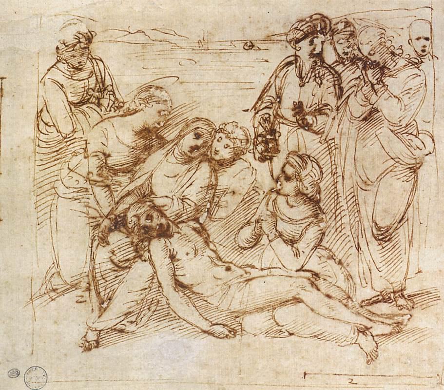 Rafael, De bewening van Christus, c. 1506, Pen en inkt over zwart krijt en stylus, Ashmolean Museum, Oxford.