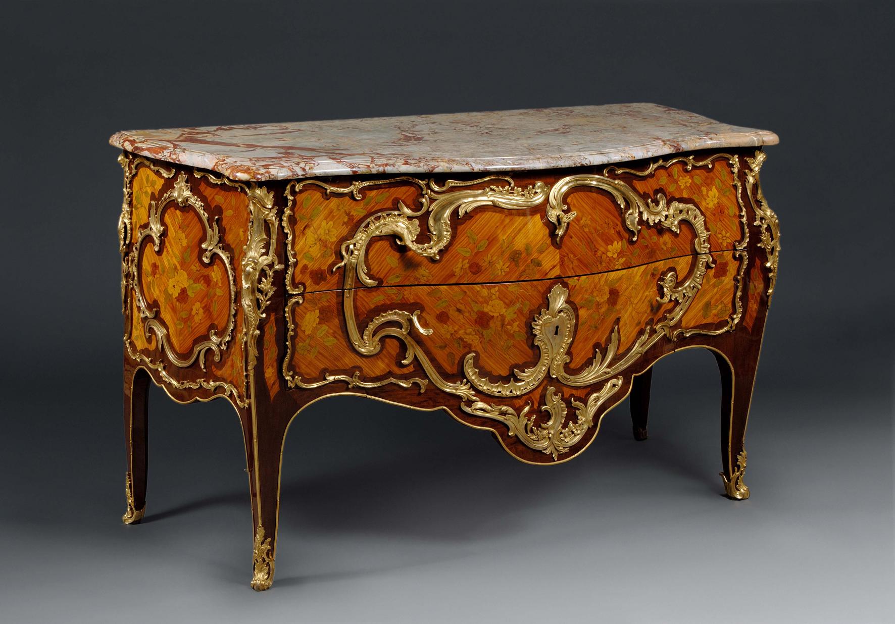 Louis XV commode, 1755–60, Adrien Delorme, Amarant, rozenhout en verguld brons, Galerie Aveline