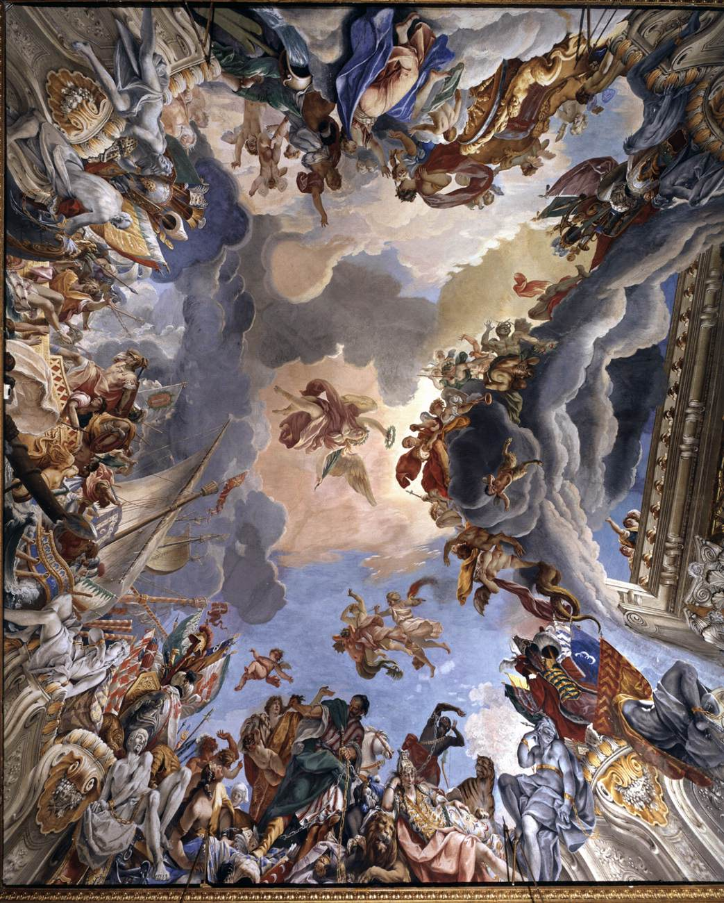Sebastiano Ricci, (1659 Belluno - 1734 Venetië), Allegorie van Marcantonio Colonna's overwinning bij Lepanto, 1693-95, Palazzo Colonna, Rome