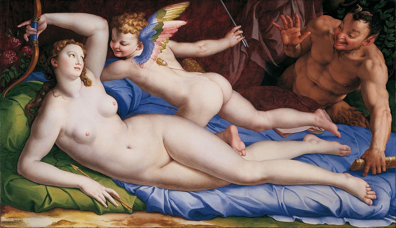 Venus, Cupido en Sater, Agnolo Bronzino, 1553/1554, Collectie Galleria Colonna Rome