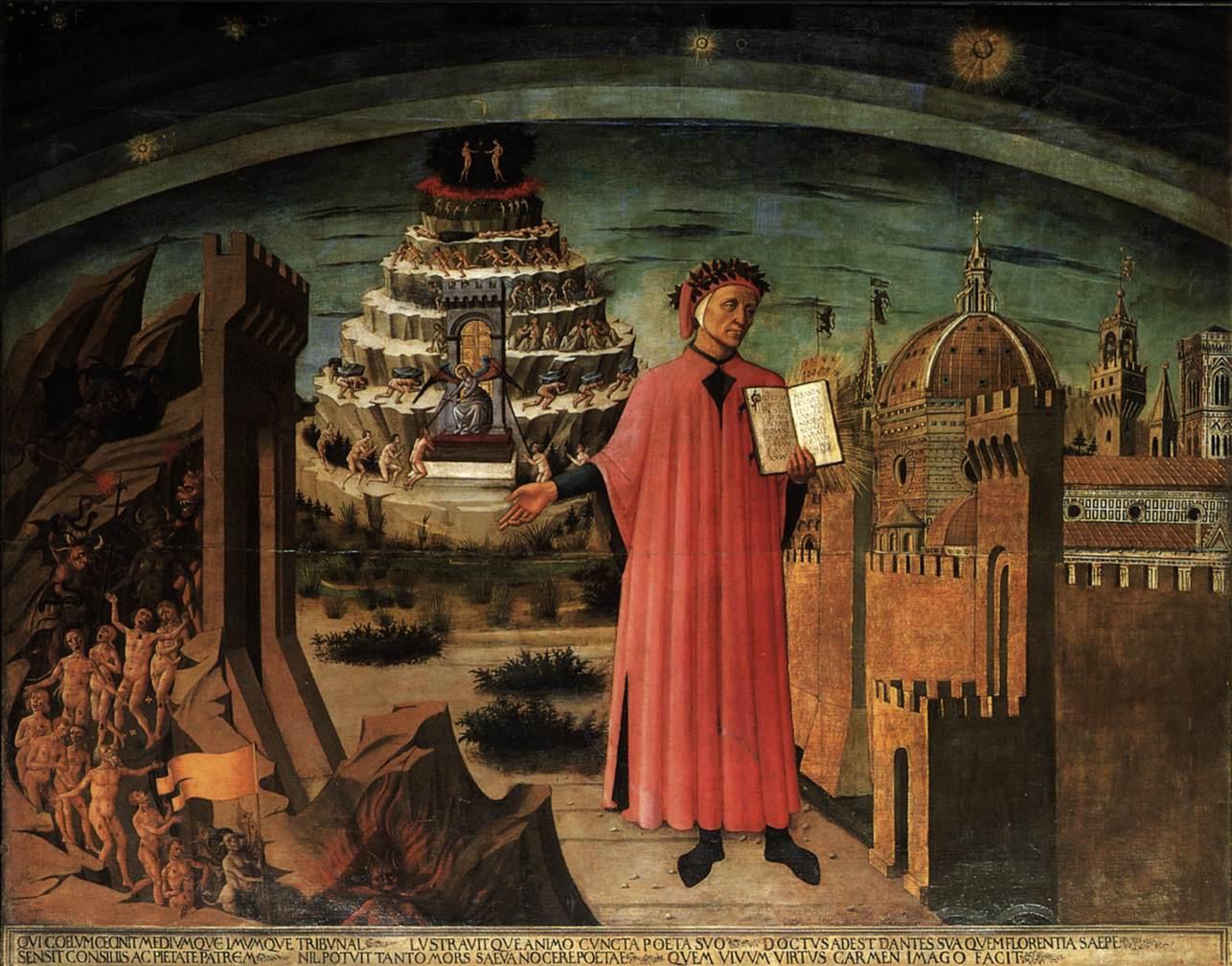 Portret van Dante Alighieri door Domenico di Michelino in de Santa Maria del Fiore, de Dom van Florence