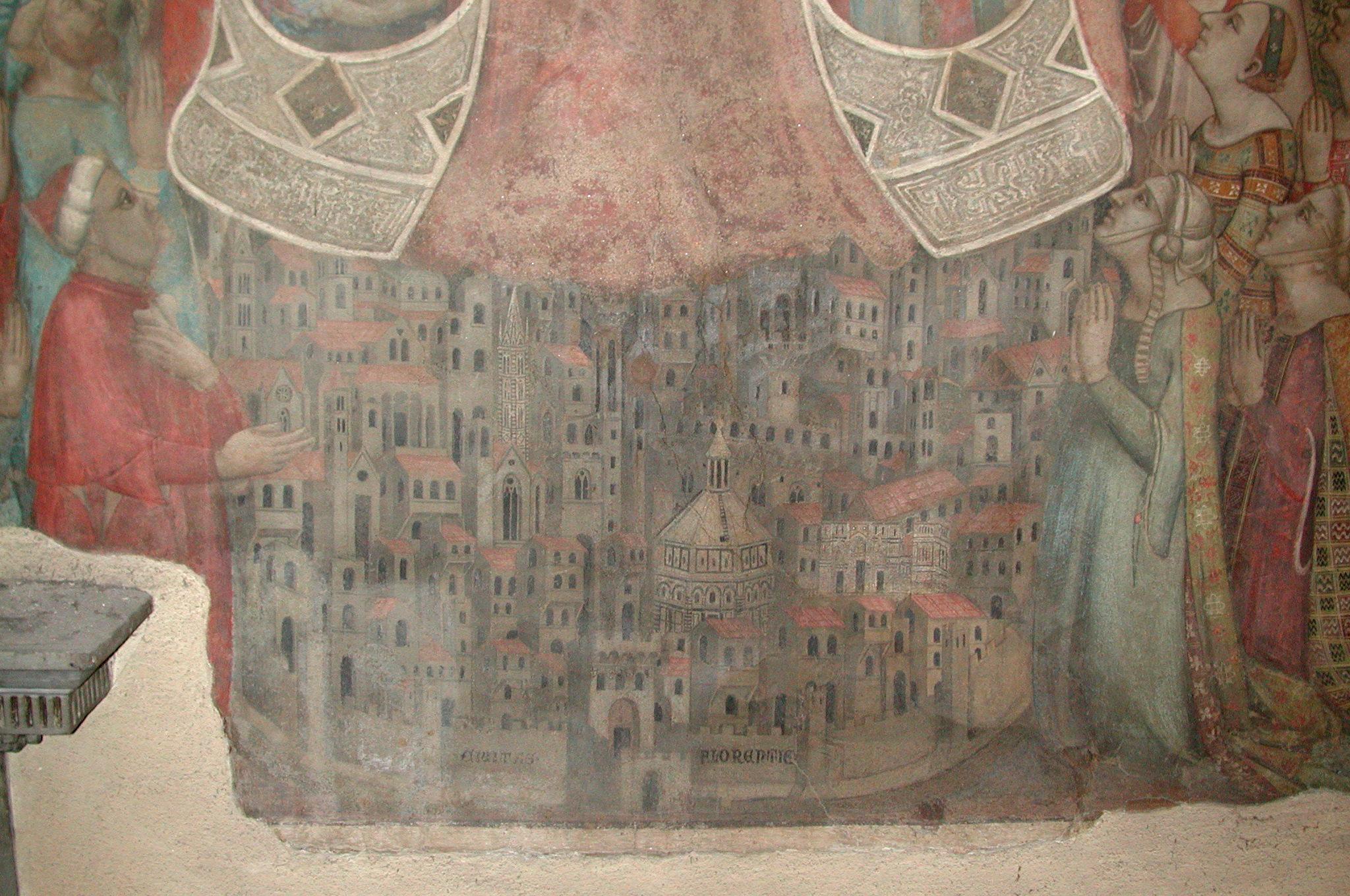 Onbekende kunstenaar, Madonna della Misericordia (detail), 1342, Museo del Bigallo, Florence. Eerste bekende afbeelding van Florence.