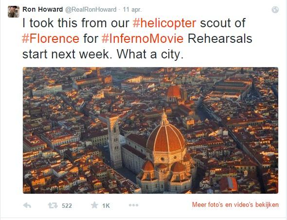 Ron Howard tweet de mooiste foto van de filmopnames in Florence, voor Inferno.