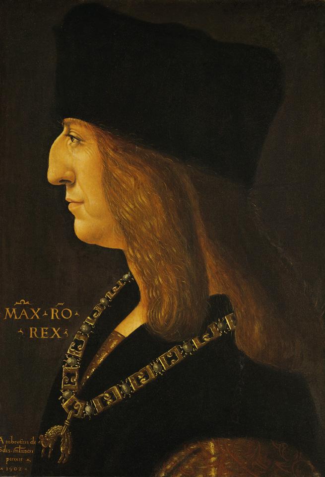Ambrogio de Predis, Maximiliaan I, Keizer van het Heilige Roomse Rijk, 1502, Kunsthistorisches Museum, Vienna