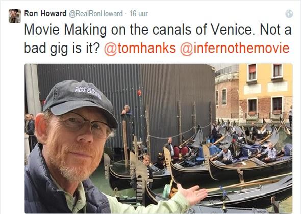 Filmopnames in Venetië voor Inferno; Ron Howard op Twitter